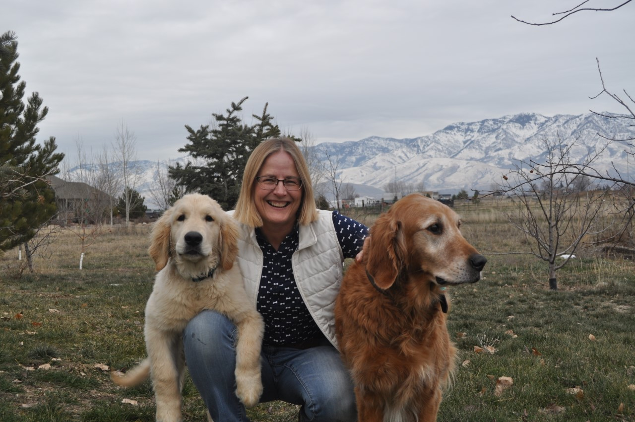 Allison Willoughby with her dogs
